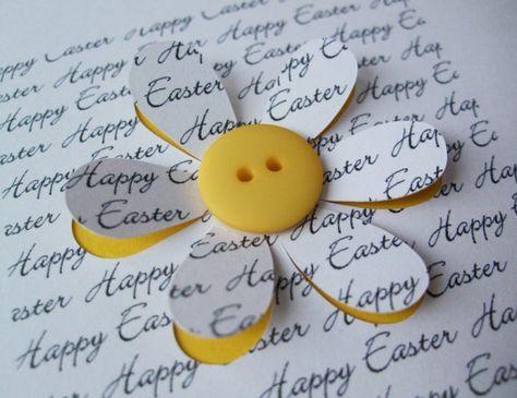 Ostern-Karte  Button Blume  Papier Schnittblume  von Nikelcards
