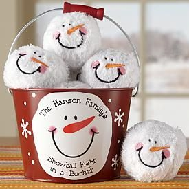 Snowball fight in a bucket--cute idea for those who don't have snow for winter. :)   NIDA WHITE