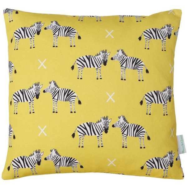 Rosa & Clara Designs - Mini Zebras Cushion ($33) ❤ liked on Polyvore featuring home, home decor, throw pillows, yellow home decor, yellow toss pillows, yellow home accessories, zebra home decor and yellow throw pillows