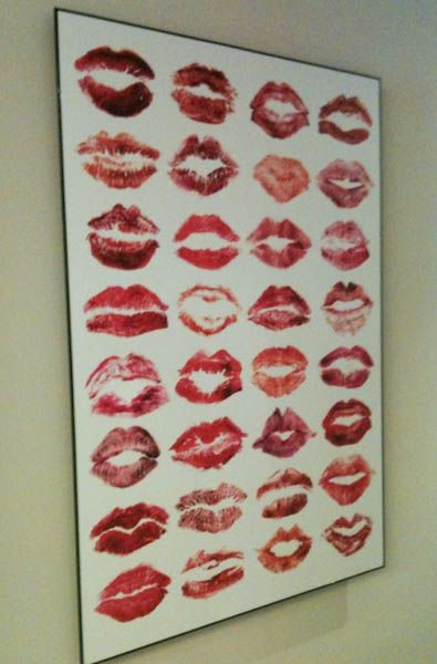 Bachelorette party keepsake or for a special Girls Night Out - have everyone sign their kiss.... LOVE this idea of wall art.