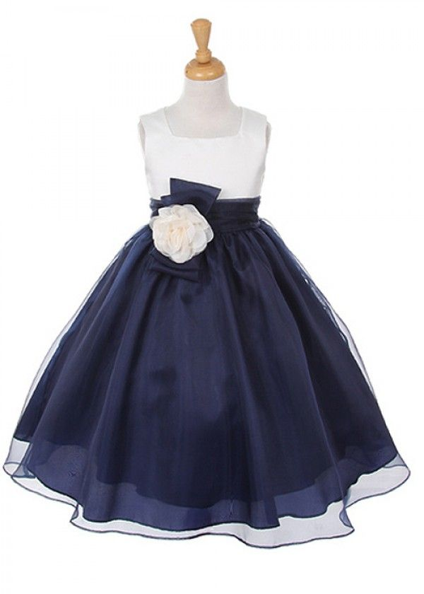 Ivory Bodice with Navy Organza Girl Dress with Flower