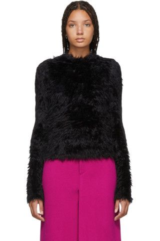 785d68f43148 Buy Balenciaga Black Oversoft Fluffy Sweater on SSENSE.com and get ...