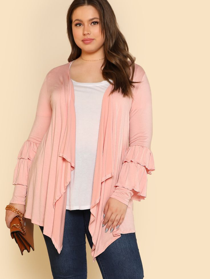 Shop Ruffle Sleeve Open Cardigan BLUSH online. SheIn offers Ruffle Sleeve Open Cardigan BLUSH & more to fit your fashionable needs.