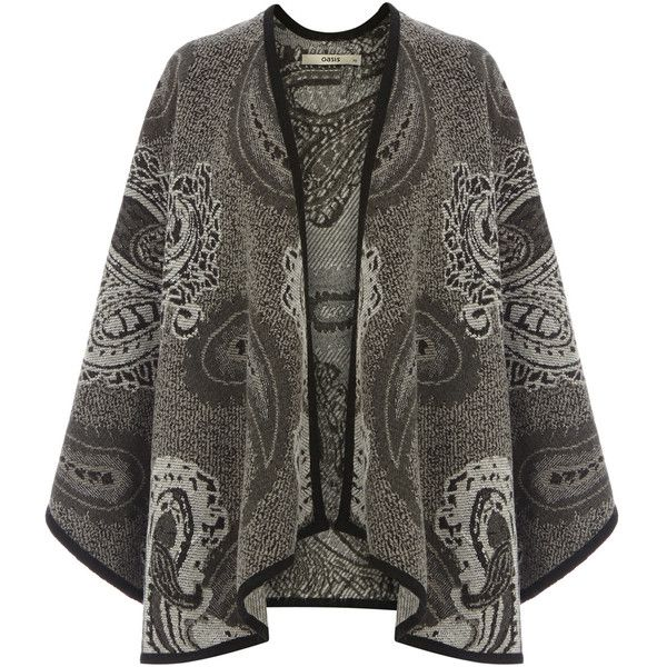 OASIS Paisley Jacquard Wrap Jacket ($18) ❤ liked on Polyvore featuring…