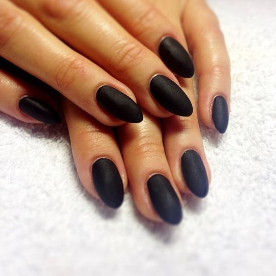 acrylic short almond nails black - Google Search
