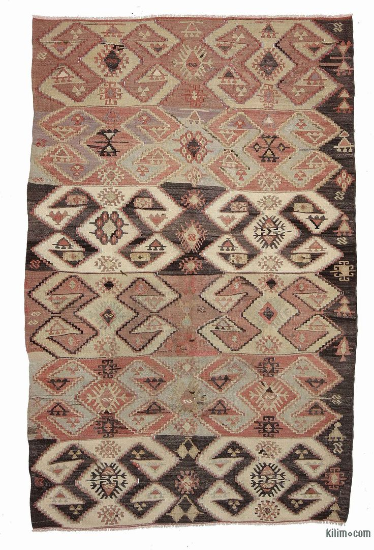 Vintage tribal kilim rug hand-woven in Afyon, located inland from the Aegean coast of Turkey in 1960's. This kilim is in very good condition.