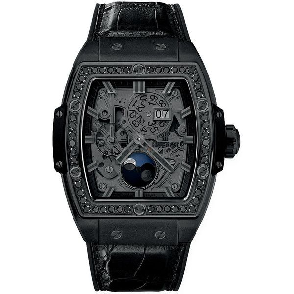 Hublot Spirit Of Big Bang Moonphase 42mm 647.ci.1110.lr.1200 Watch (27,355 CAD) ❤ liked on Polyvore featuring men's fashion, men's jewelry, men's watches, ceramic, mens stainless steel watches and hublot mens watches