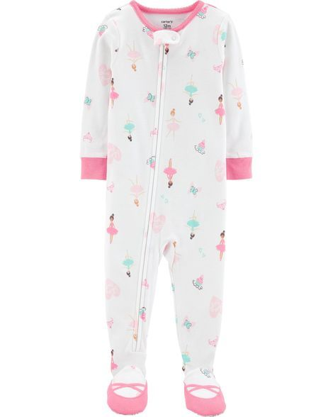 1-Piece Ballerina Footed Snug Fit Cotton PJs  4090f6a5d