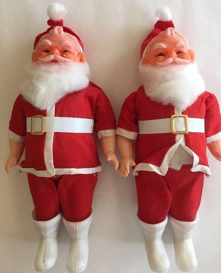 "Vintage Santa Claus Doll Pair Set 2 Christmas Decor 12"" Vinyl Faces Hard Bodies #ttb"