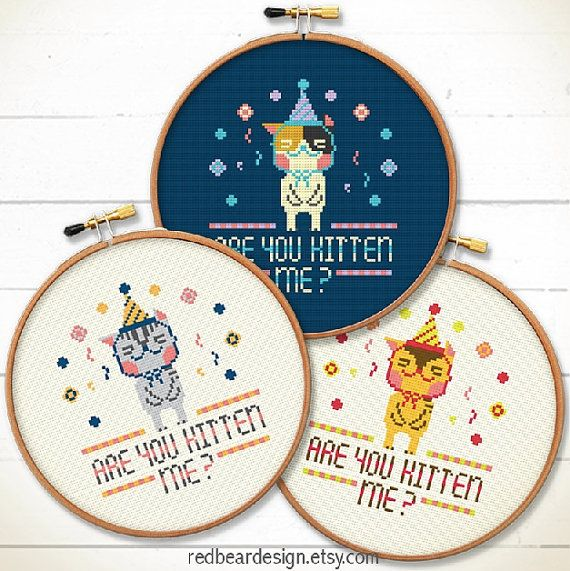 Quote Kawaii cat cross stitch pattern Are You by redbeardesign