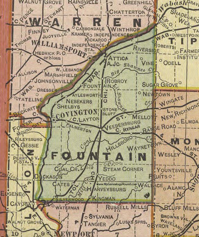 Indiana Map County.Fountain County Indiana 1908 Map Covington Attica Veedersburg