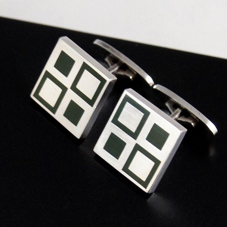 Georg Jensen Cufflinks - Green Cubes Sterling Silver