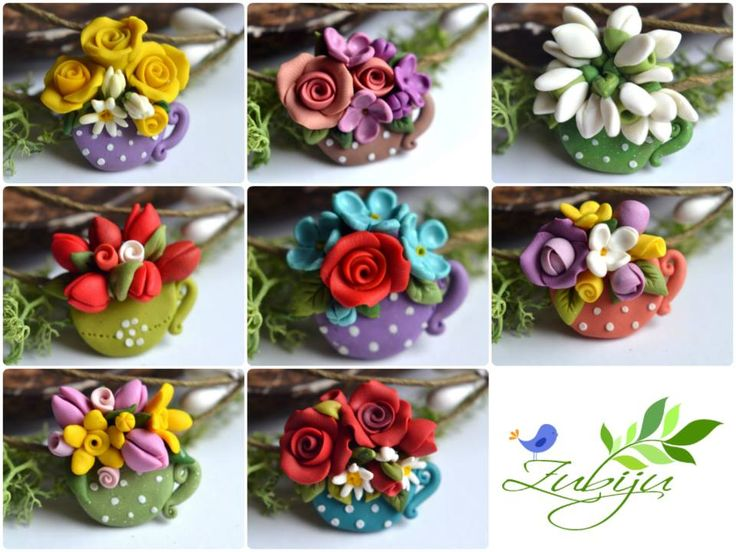 Martisoare - polymer clay brooch- polymer clay flowers - spring flowers by Zubiju