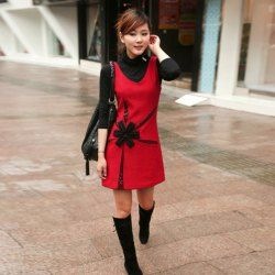$13.53 Charming Lady Style Flower Decorated Sleeveless Red Woolen Dress For Women