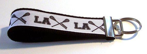 Key Fob Lacrosse Key Fob Key Chain Wristlet by GabbysQuiltsNSupply