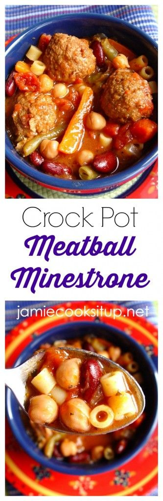 Crock Pot Meatball Minestrone Soup from Jamie Cooks It Up! Full of hearty goodness, this easy soup makes a fantastic weeknight dinner.