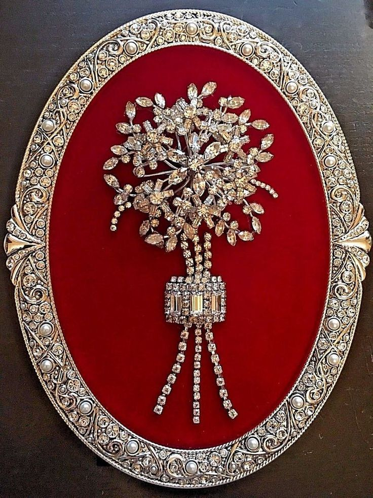VINTAGE JEWELRY FRAMED ART, NOT CHRISTMAS TREE, FLOWER BOUQUET WITH SWAROVSKI