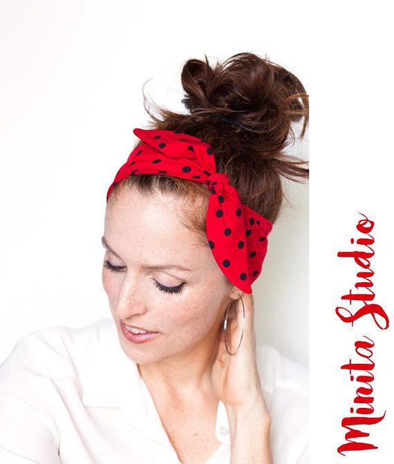 Red Headband  Red Polka Dot Headband Minnie Mouse Rosie The
