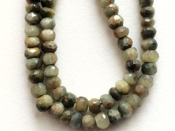 Cats Eye Stone Cats Eye Faceted Rondelle Green by gemsforjewels