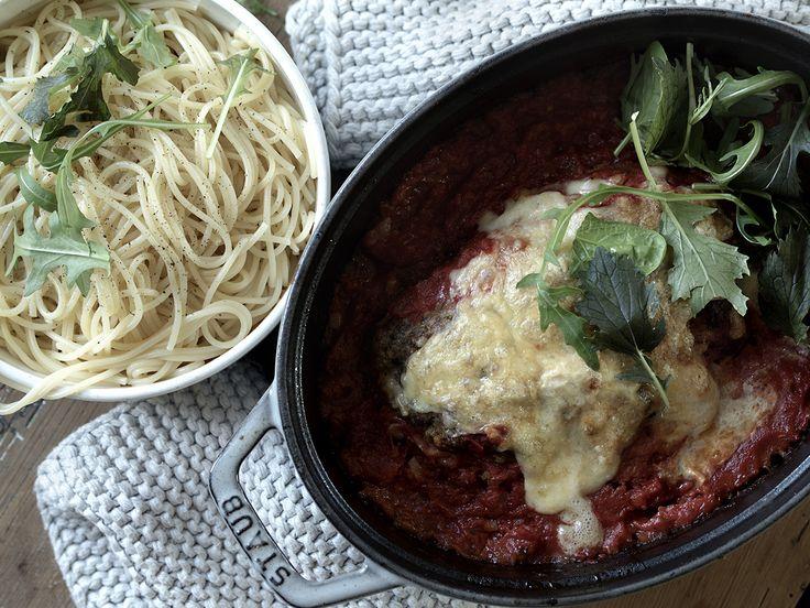 kjøttpudding og spagetti