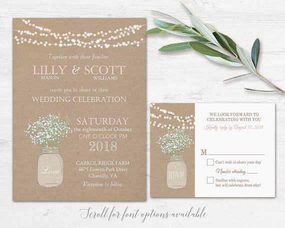 Rustic Mason Jar Wedding Invitations Designed On A Burlap Background With Filled
