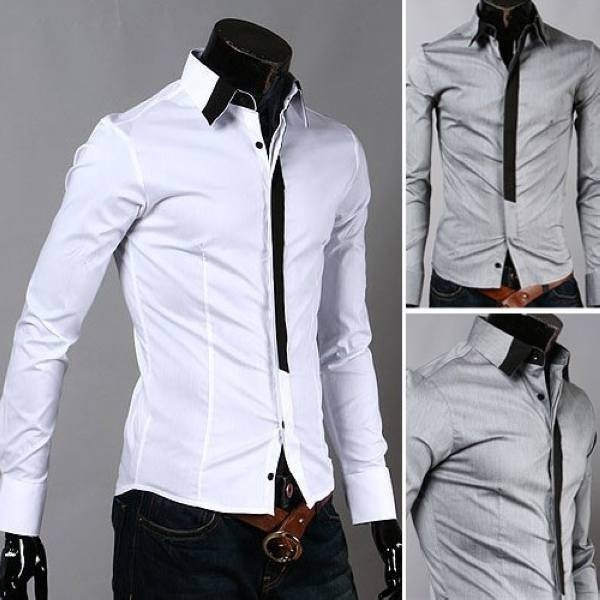 Wholesale high quality casual slim cotton mixed colour collar long sleeve mens dress shirts,size:M XXL hot sale-in Dress Shirts from Apparel & Accessories on Aliexpress.com