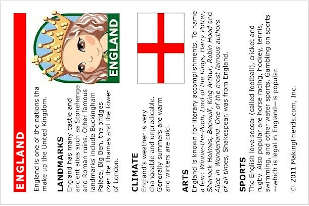 Fun printable fact sheet on England. Print all of our countries and add them to your passport from MakingFriends.com!