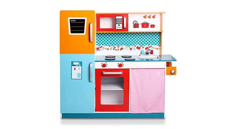 2017: WildBird Care Kitchen Playset. This incredibly colorful wooden kitchen set comes with elements that are brightly colored, while all of the knobs, displays and similar details are still somewhat accurate. It has a fridge, a stove with an oven, a sink, a freezer and a microwave. Next to the microwave is a small shelf for accessories, while there is also a small compartment under the sink that is separated with a soft curtain.  Price: $107.99