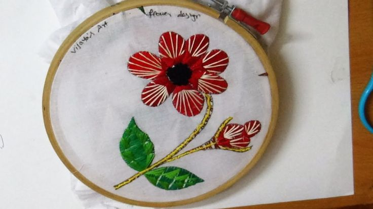 Hand Embroidery -  Beautiful flower with satin & straight stitch designs