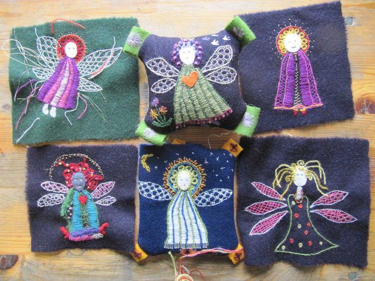 Vi kursdeltagare  fick välja mellan att brodera änglar eller en blomma på kursen i Yllebroderier på Hågelby 2-3 Okt. Jag valde en ängel, men...