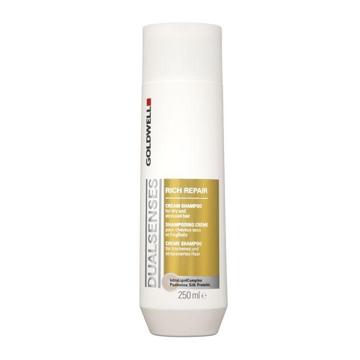 GOLDWELL DUALSENSES RICH REPAIR SHAMPOO Reinigt uitzonderlijk mild. Repareert het haar met dieptewerking. Zorgt voor directe souplesse en glans. Bevat waardevolle pashmina zijde- proteïnen.
