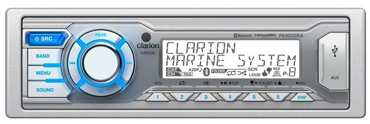 Clarion M505 Boating Radios. Marine Digital Media Bluetooth USB/MP3/WMA Receiver Global AM/FM/Weather Band Tuner Built-in Bluetooth with aptX for HFP/A2DP/PBAP/AVRCP Pandora Internet Radio Control via iPod/iPhone connectivity SiriusXM Ready with OPTIONAL SXV200/300 Tuner. Built-in Microphone and External Microphone Ready with OPTIONAL RCB204 or RCB199 2-Zone Entertainment: Main and Second Zone source control 6-Channel / 4-Volt RCA Output w/ Built-in Low-Pass filters 2-Channel / 4-Volt RCA...