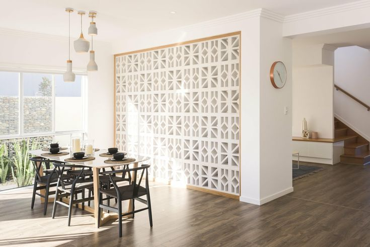 Dining Room wall. | Display homes, Breeze blocks, Home