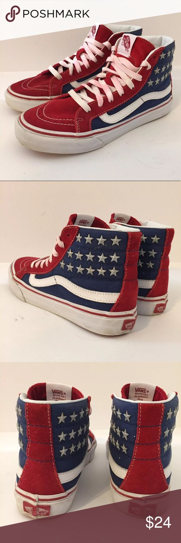 Vans Sk8 Hi USA Flag Studded Mens 5.5 womens 7 Vans sk8 hi studded shoes. In great shape. Only wear is red from the suede has seeped into the laces. Clean otherwise. Mens 5.5, womens 7. Vans Shoes Sneakers
