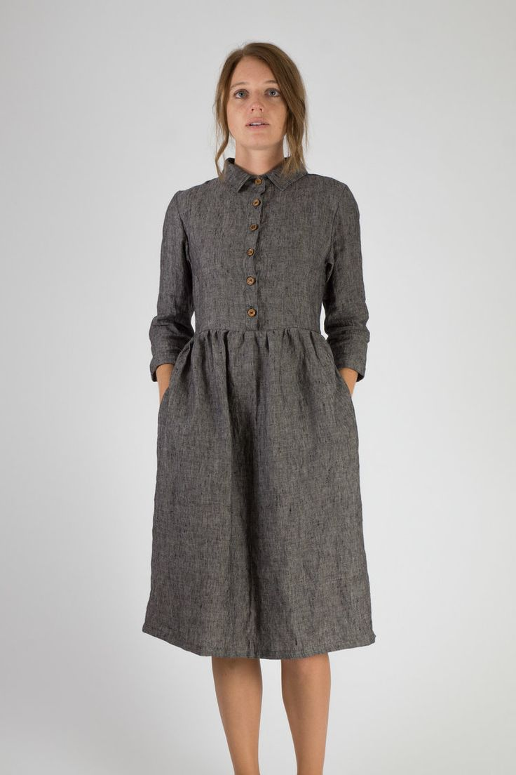 Linen-Dress-Gray-Collar-Buttons-Midi-Length-Fall-Winter-Pyne-and-Smith-Model-22-Style-22101-002-01.jpg