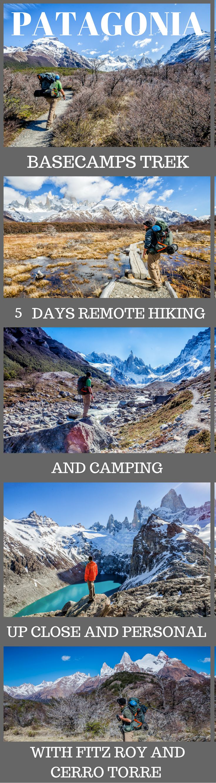 5 Days of Hiking in Patagonia – Basecamps Trek. A world's top 100 travel adventure, up close and personal with Fitz Roy and Cerro Torre, in Argentina's Patagonia. Of course, we're not talking about day hikes either. We're talking about strapping on your backpack, carrying all your own supplies and heading off on the trails into the backcountry. Click to read more #AdventureTravel #Patagonia #Travel #Argetina