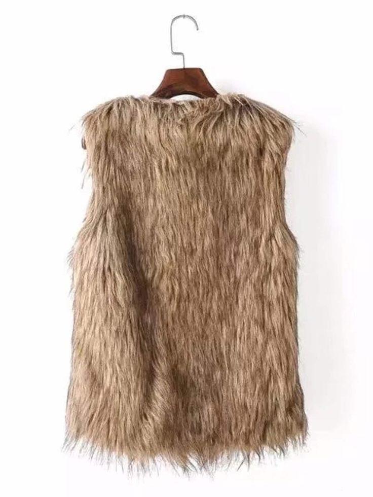 #ad Kunstfellweste. # Vneck # Khaki # RegularFit # FauxFur # Plain # Herbst / Winter # Ärmellos # …   – Outerwear