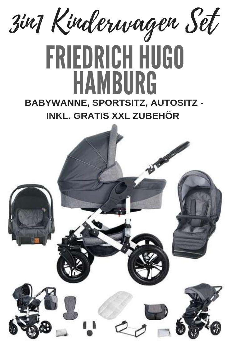 Friedrich Hugo Hamburg 3 In 1 Kombi Kinderwagen Luftreifen