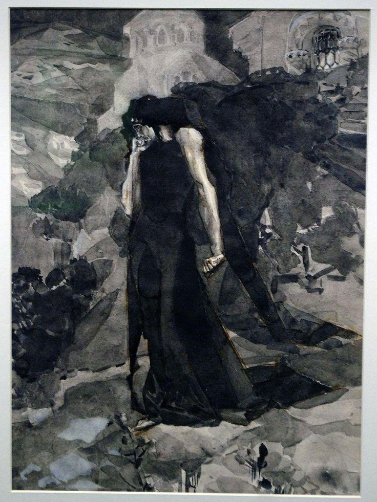 Михаил Врубель Демон у стен монастыря 1890-1891 M. Vrubel
