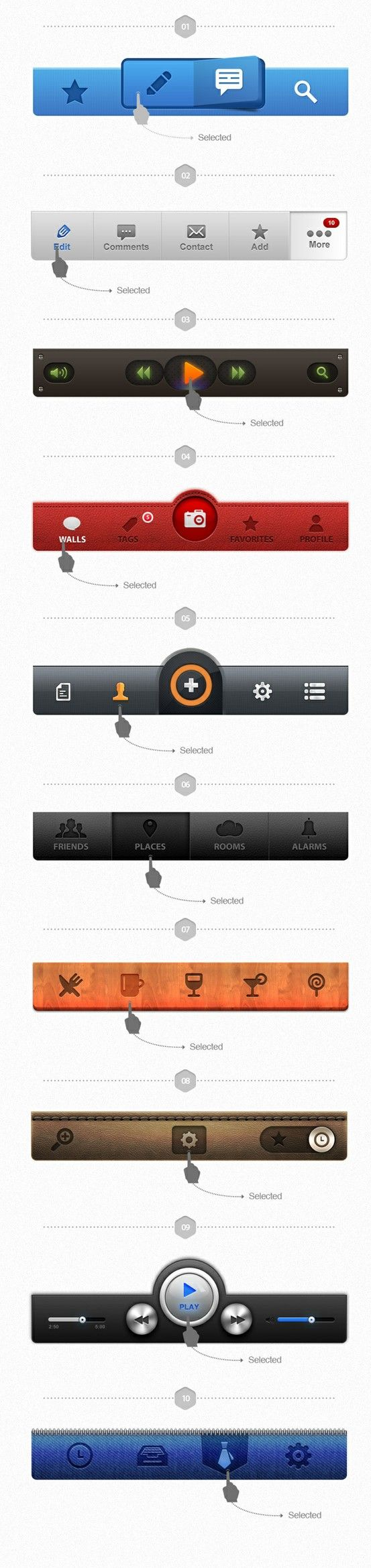 Mobile UI elements