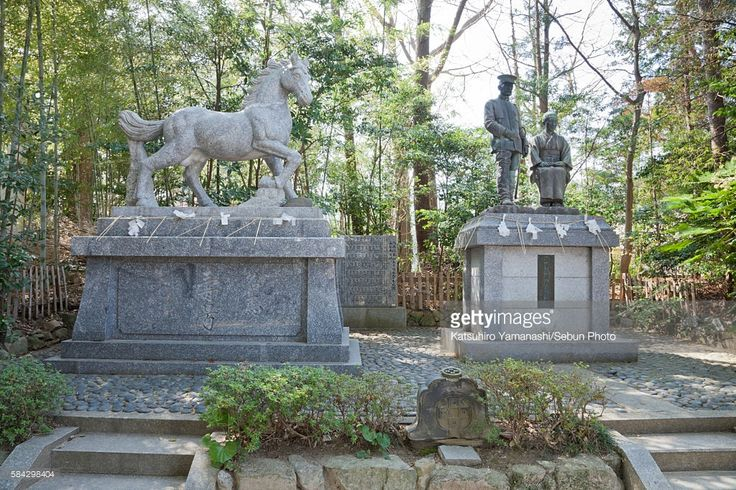 Stock Photo : Statues of horse and General Nogi Maresuke and his wife
