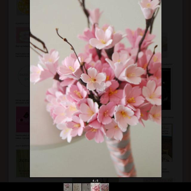 Pink cherry blossom bouquet