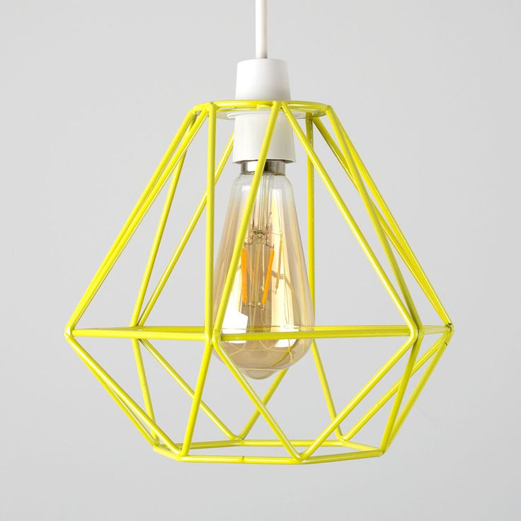 Industrial Yellow Metal Wire Diamond Design Ceiling Light Shade Lighting Home | eBay
