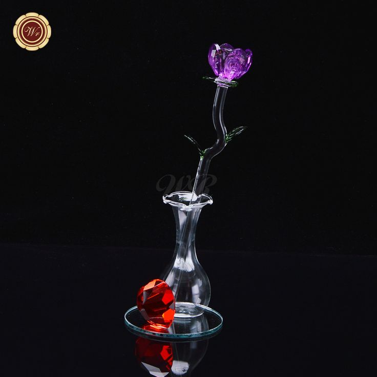 WR Purple Four-leaf Funny Valentine Crystal Rose Hot Sale Artificial Valentine's Day Gift Baskets Valentine's Rose Desk Decor