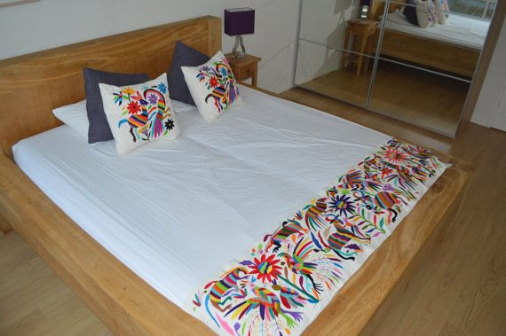 100% Organic Otomi Bed Runner  Mexican Bed Runner  by OtomiMexico