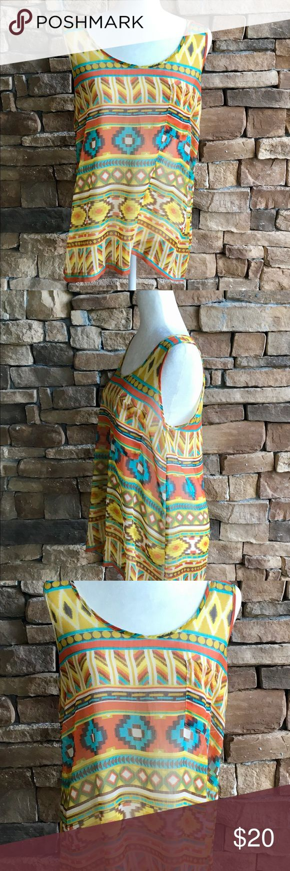 """Umgee Women's Boho Southwestern Top SZ M Colorful Umgee USA Colorful Southwestern Striped Sleeveless Top Exposed Zipper  Size Medium  Sheer Multicolored  Arm Pit to Arm Pit 18"""" laying flat  Total Length 27"""" One Chest Pocket  Clean and Smoke Free Home Gently used  Yellow Blue Brown Orange  Southwestern Pattern Umgee Tops"""