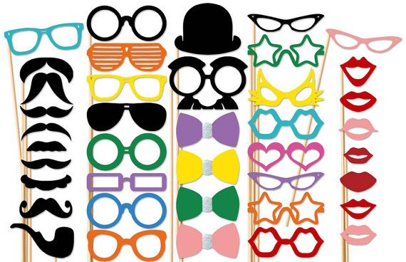 Best Wedding Photo Booth Props - 40 piece set - Mustache Party Photobooth on Etsy, $44.00
