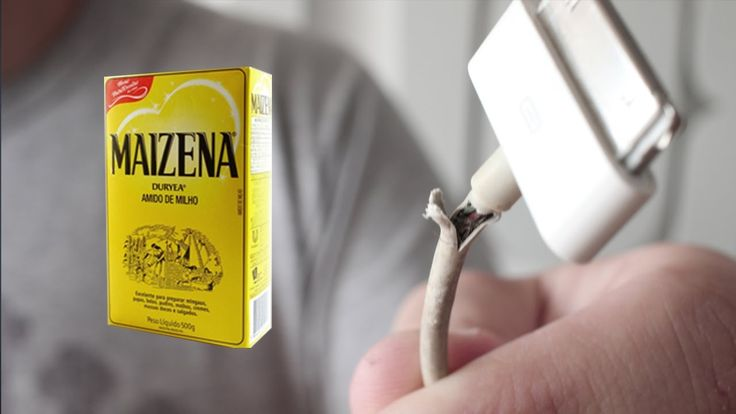 como consertar CABO de IPHONE com MAIZENA #DIY