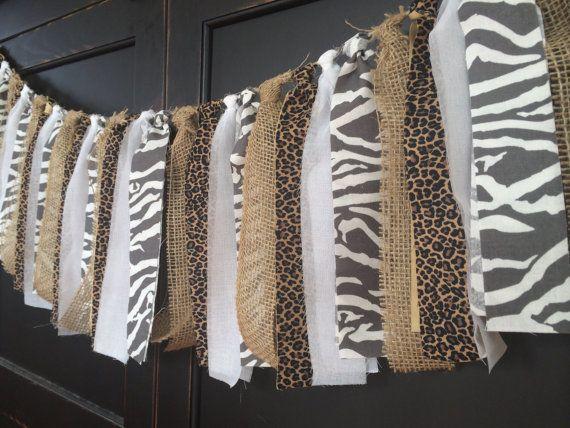 Rustic Safari Fringe Rag Tie Garland, Bunting, Banner, Backdrop, Swag, Streamer…