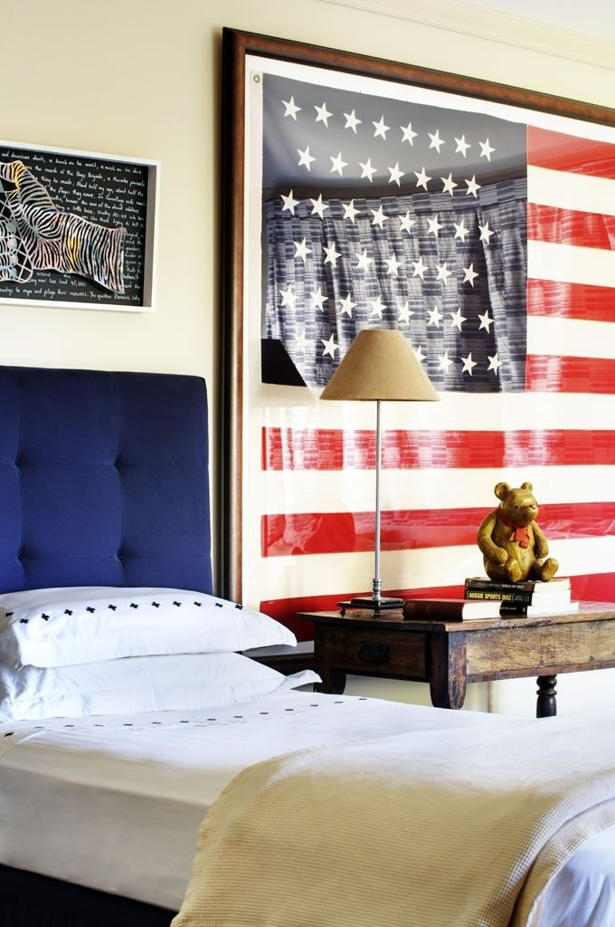 Independence Day #Americana: blue upholstered twin #headboard with a large, framed American #flag
